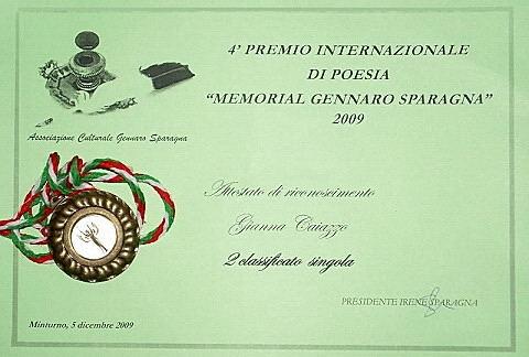 attestato e medaglia concorso poesia Memorial Sparagna 2° premio.